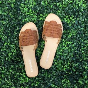 Boutique Leather Slide Sandals NWT
